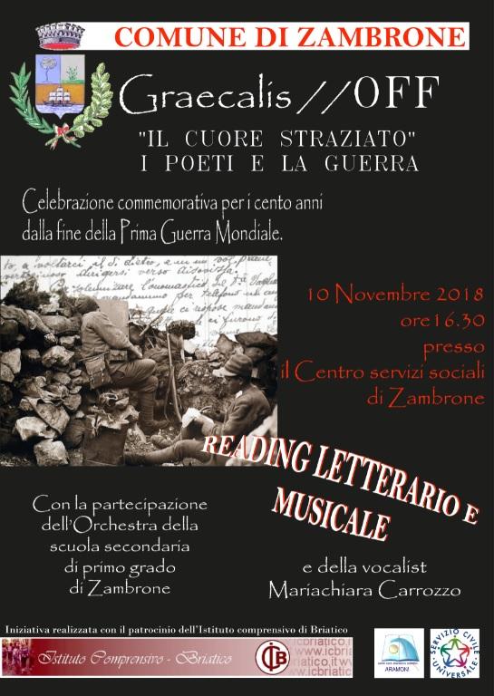 Reading letterario e musicale per la celebrazione dei cento anni dalla fine della prima Guerra Mondiale