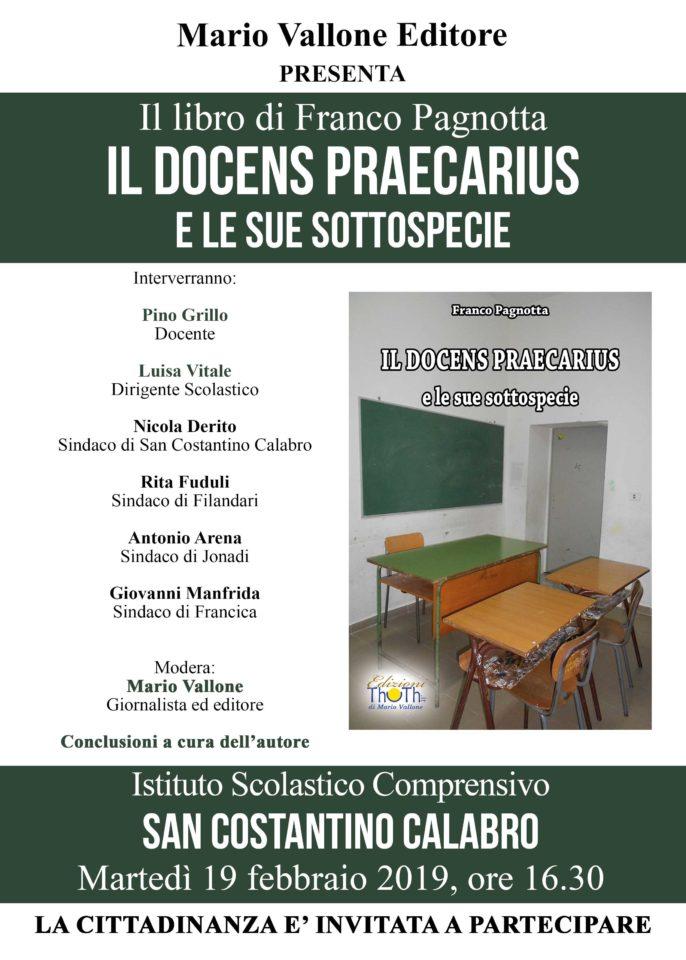 """""""Il docens praecarius"""" di Franco Pagnotta a San Costantino Calabro"""