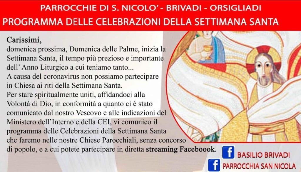 Programma delle celebrazioni religiose della Settimana Santa di Brivadi San Nicolò e Orsigliadi