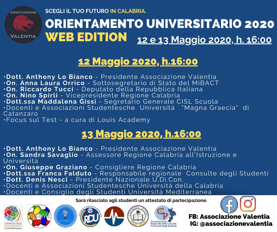 L'associazione Valentia lancia il primo orientamento universitario online degli atenei Calabresi