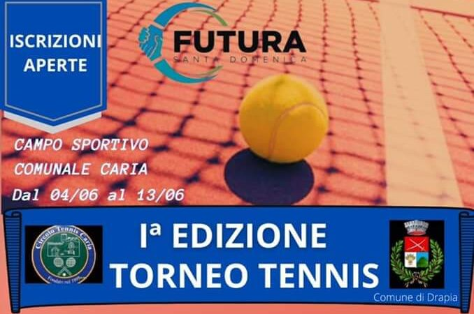 FUTURA Santa Domenica: torneo di tennis presso il campo comunale di Caria